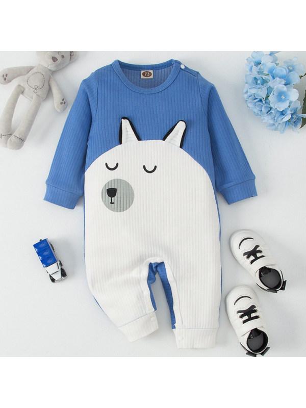 【3M-18M】Baby Boy Cute Cartoon Print Blue Romper