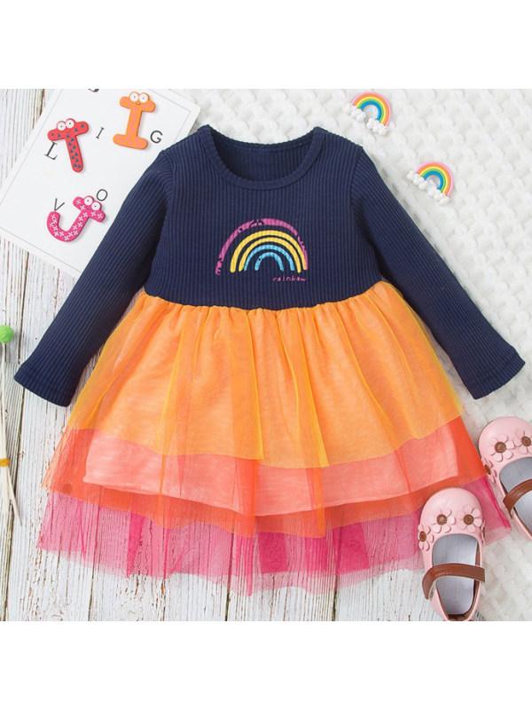 【12M-5Y】Girls Sweet Rainbow Print Long Sleeve Dress