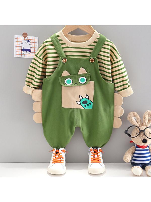 【12M-4Y】Boys Fashion Striped Sweatshirt Cartoon Pattern Overalls Set