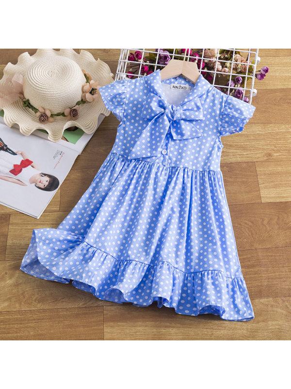 【2Y-9Y】Girls Polka Dot Print Bow Dress
