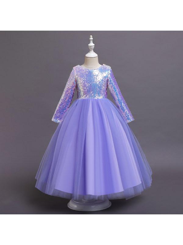 【5Y-11Y】Girls Sweet Sequined Mesh Long Sleeve Princess Dress