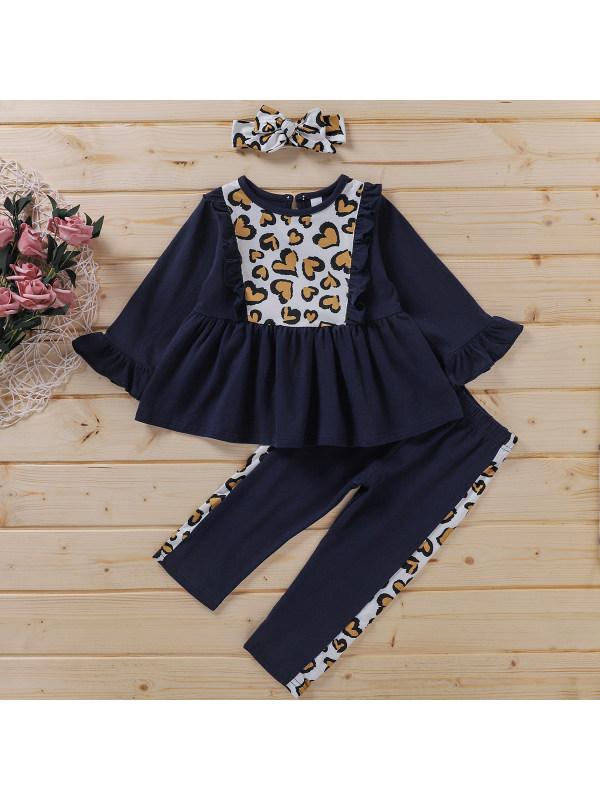 【18M-7Y】Girls Love Printed Black Long Sleeve Set
