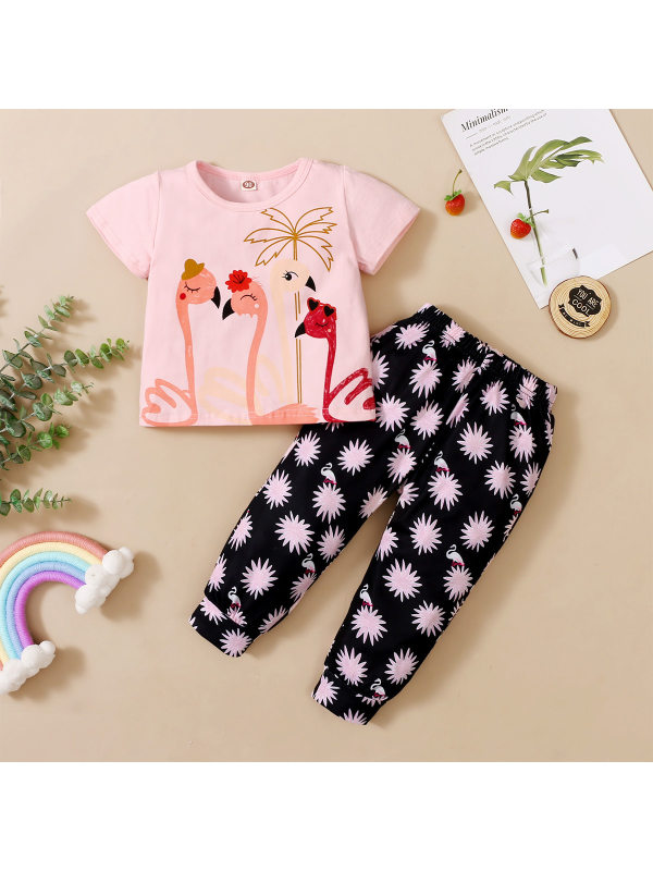 【18M-7Y】Girls Printed Blouse Short-sleeved and Printed Trousers Two-piece Suit
