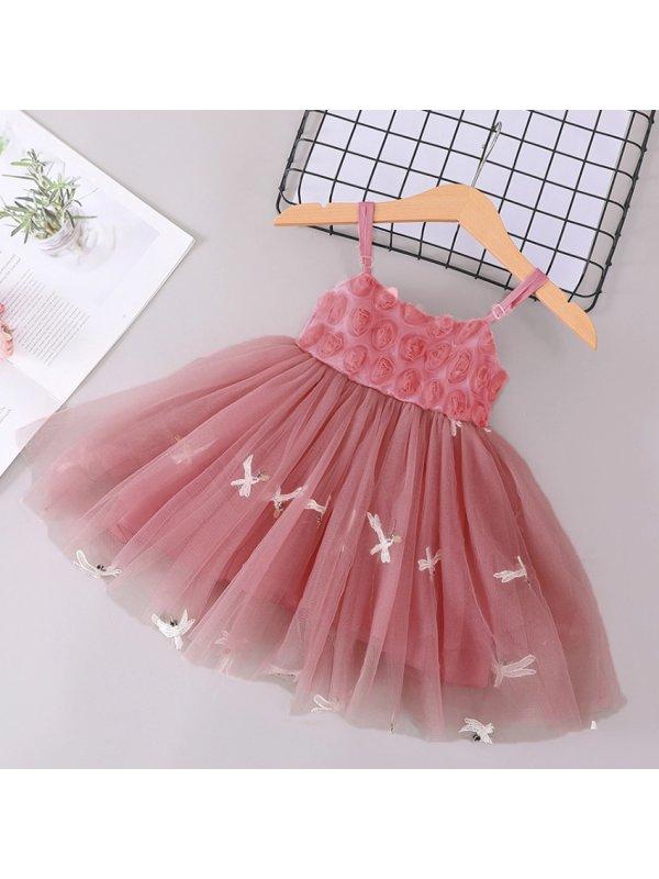 【18M-7Y】Girl Sweet Flowers Tulle Sleeveless Princess Dress
