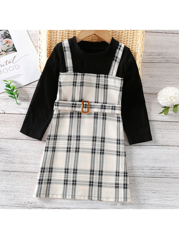 【18M-7Y】Girls Sweet Plaid Fake Two-piece Long-sleeved Dress