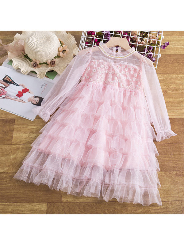 【3Y-11Y】Girls Sweet Long Sleeve Layered Tulle Dress
