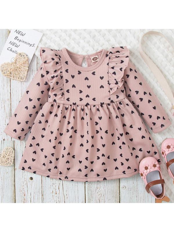【12M-5Y】Girls Sweet Heart Shape Print Pink Long Sleeve Dress
