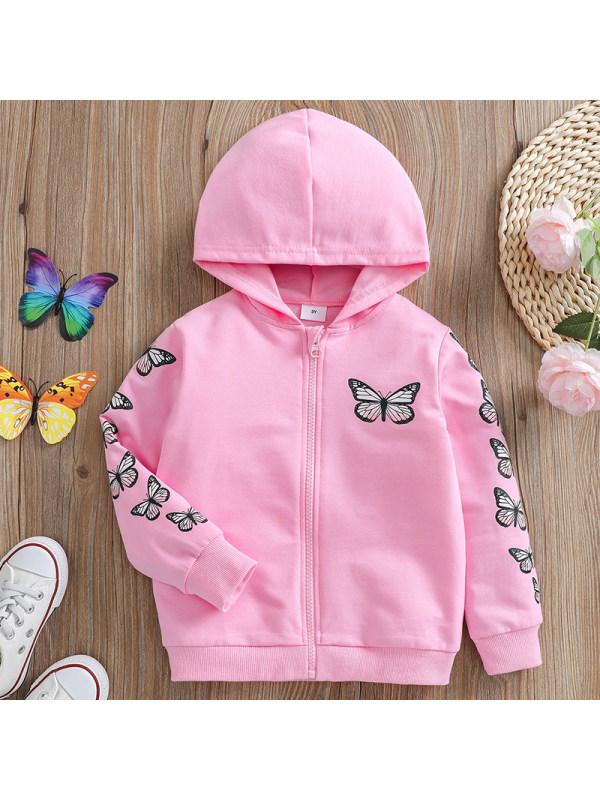 【18M-7Y】Girl Sweet Pink Butterfly Pattern Hooded Jacket