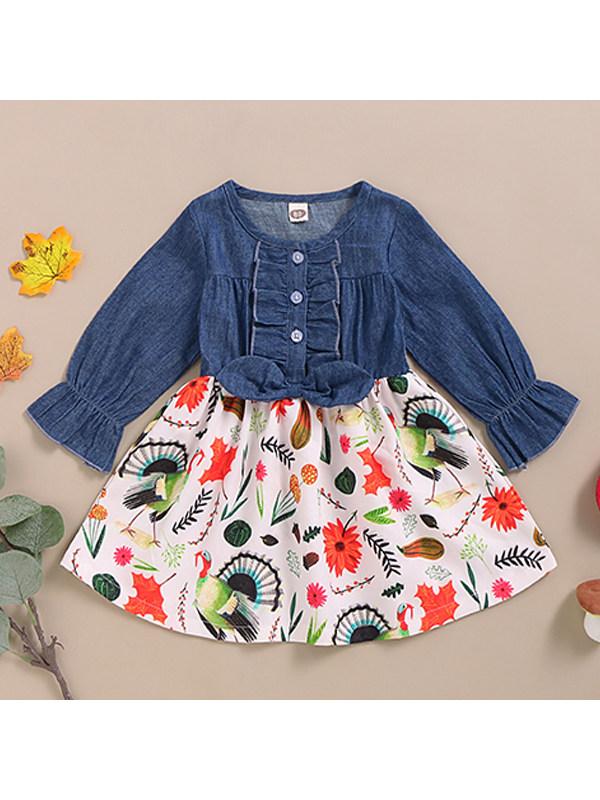 【12M-4Y】Girls Flower Print Denim Stitching Dress