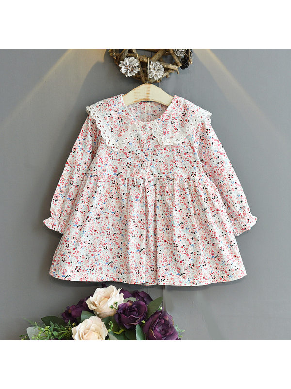 【18M-7Y】Girls Long-sleeved Floral Dress