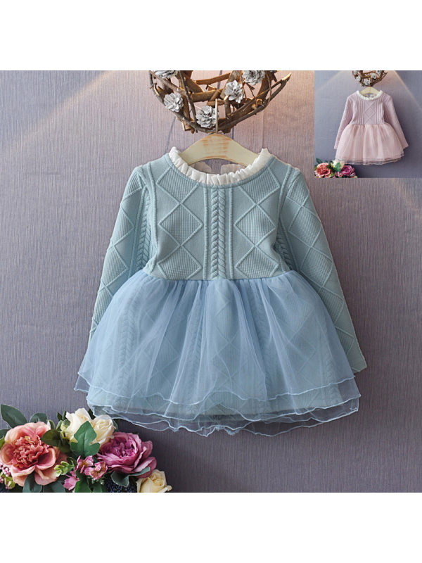 【18M-7Y】Girls Mesh Stitching Dress