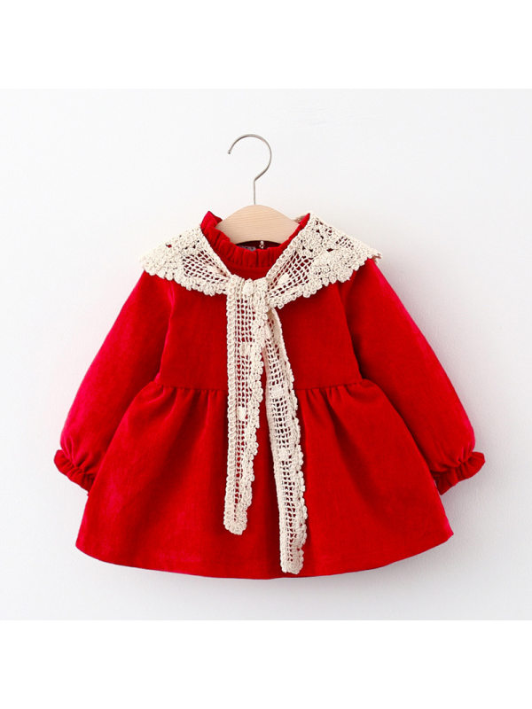 【12M-4Y】Girls Long-sleeved Dress With Shawl Decoration