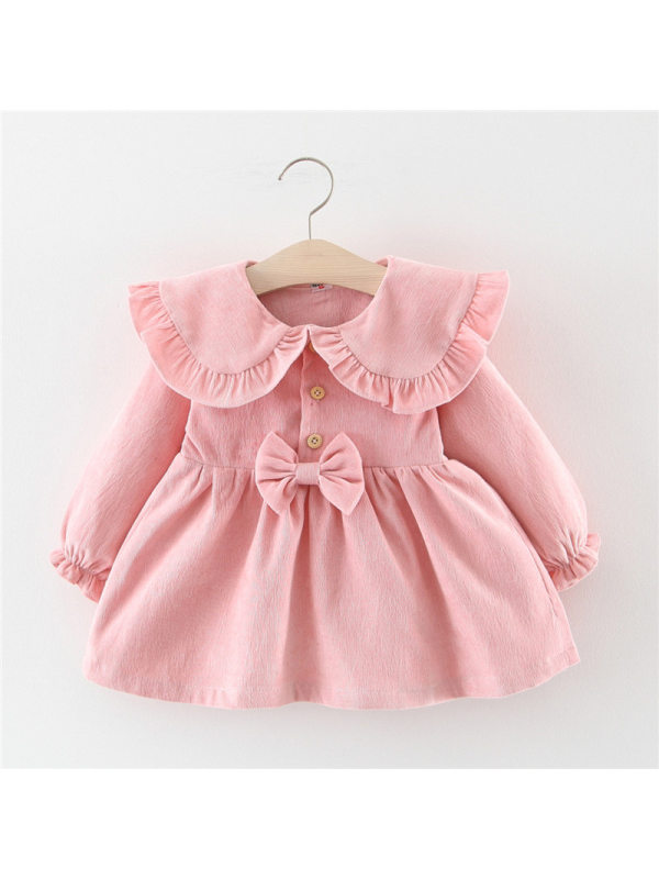 【12M-4Y】Girls Long-sleeved Bow-knot Dress