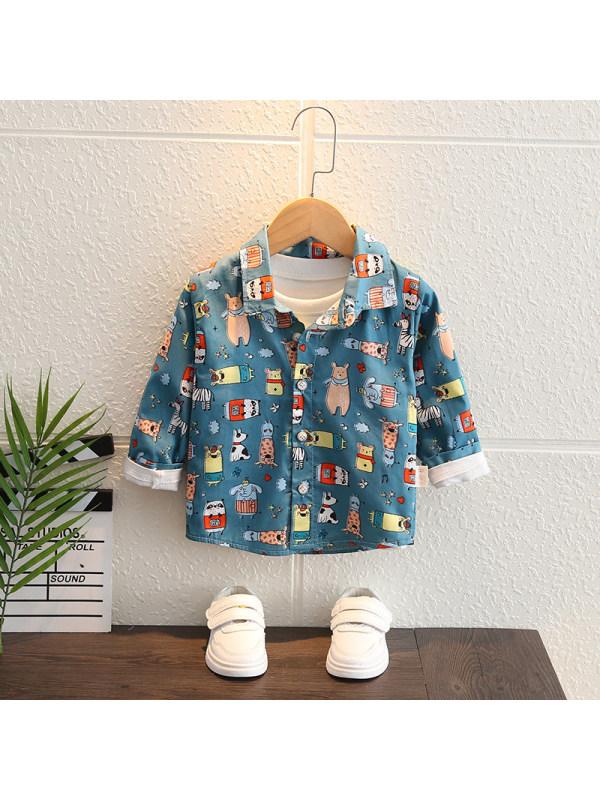 【12M-5Y】Boys Cartoon Print Long-sleeved Shirt