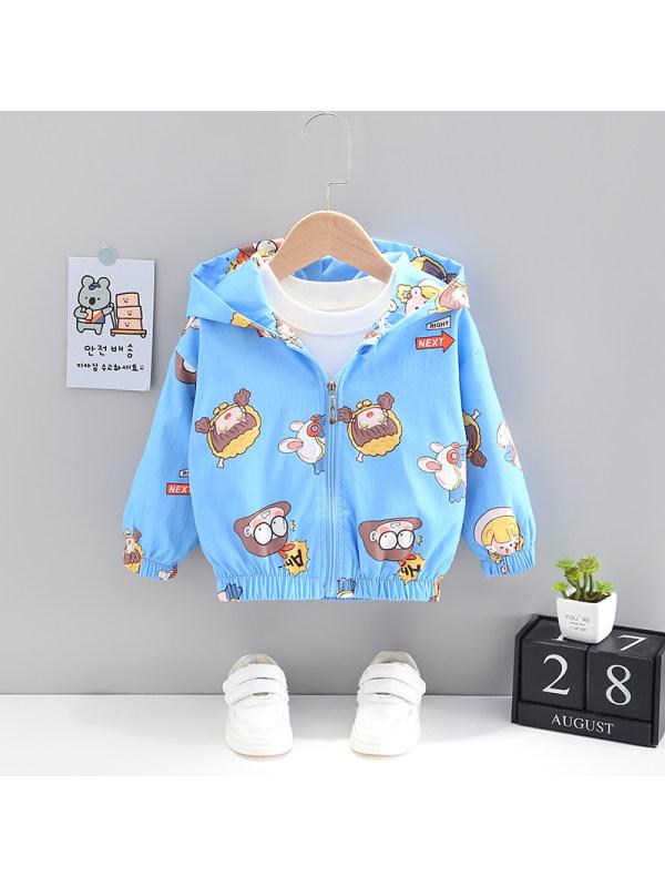【12M-5Y】Girls Cartoon Print Hooded Jacket