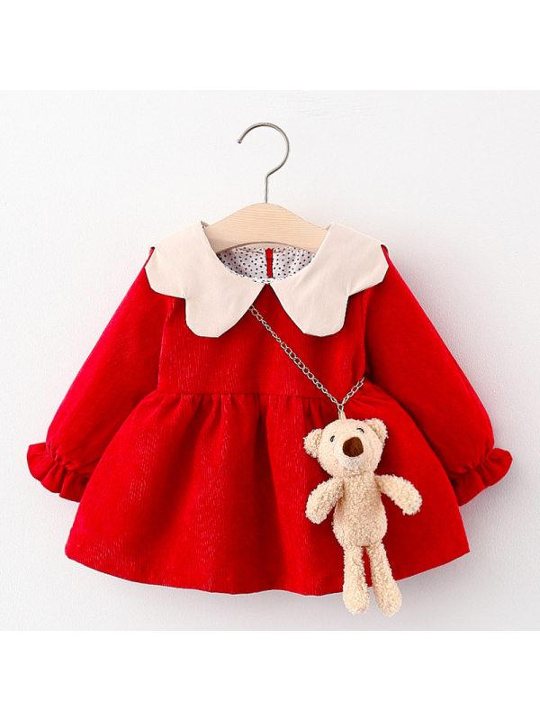 【12M-4Y】Girls Bear Decoration Long-sleeved Dress