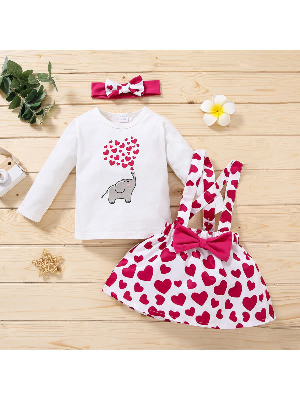 【12M-5Y】Girls 3-piece Love Printed Long-sleeved Blouse And Strap Dress