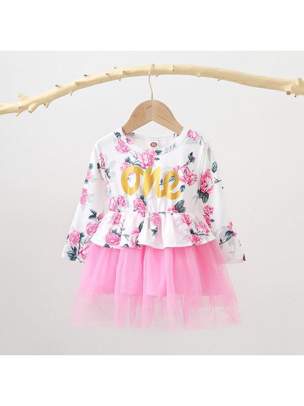 【12M-4Y】Girls Flower Print Long Sleeve Mesh Dress