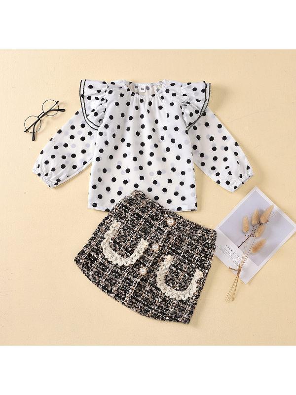 【18M-7Y】Girls Polka Dot Shirt Beaded Plaid Skirt Set