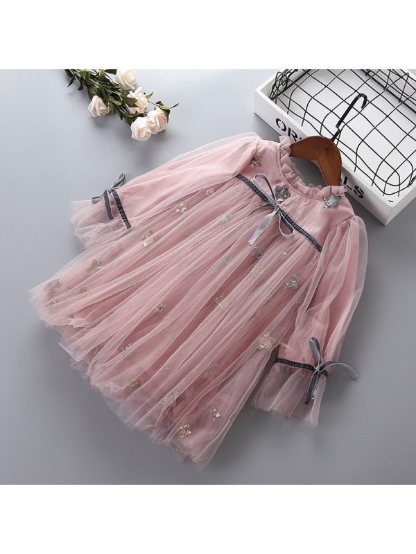【2Y-9Y】Girls Multi-layer Mesh Embroidered Long-sleeved Dress