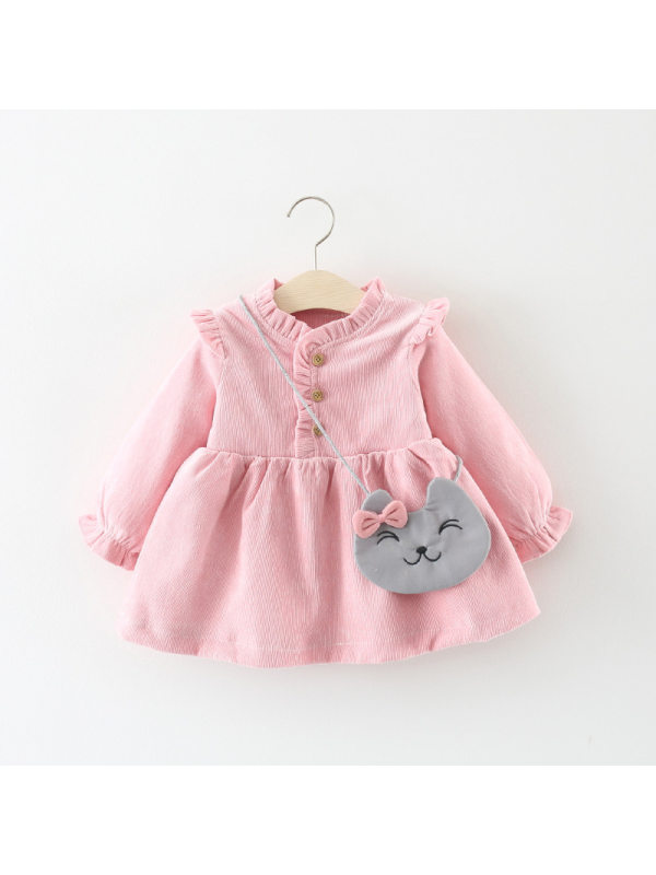【12M-4Y】Girls Solid Color Long Sleeve Dress With Bag