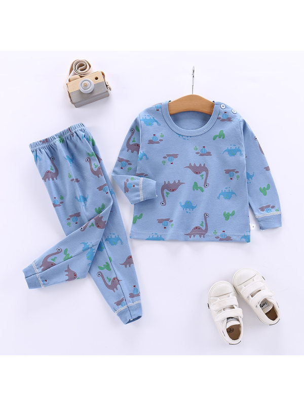 【12M-7Y】Kid Cartoon Printed Cotton Set For Boys and Girls