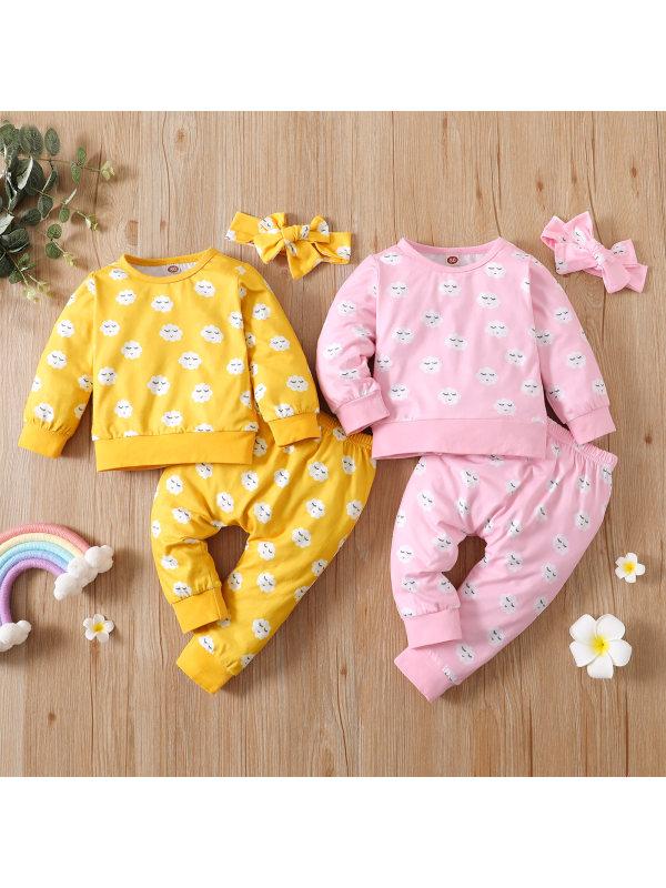 【0M-12M】Baby Girl Cute Cloud Full Print Pullover Trouser Suit
