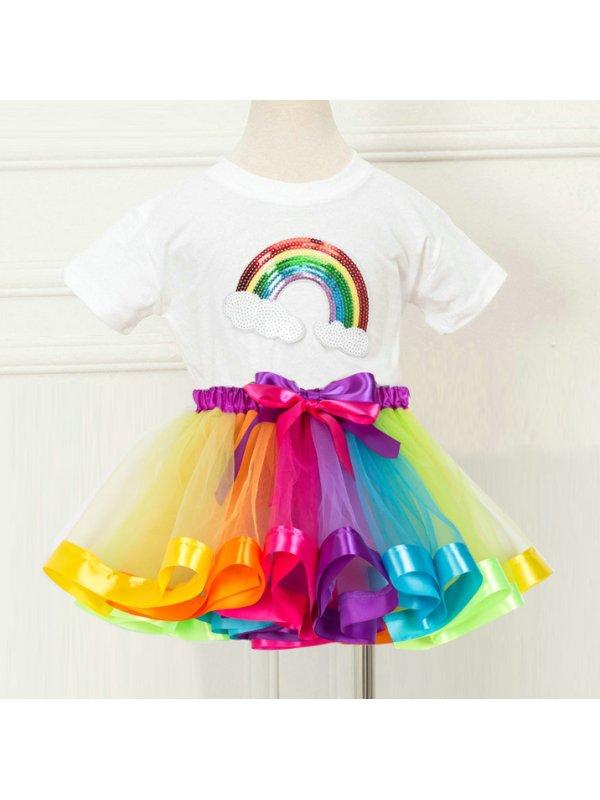 【2Y-7Y】Girl Rainbow Short Sleeve T-Shirt And Tutu Skirt Set