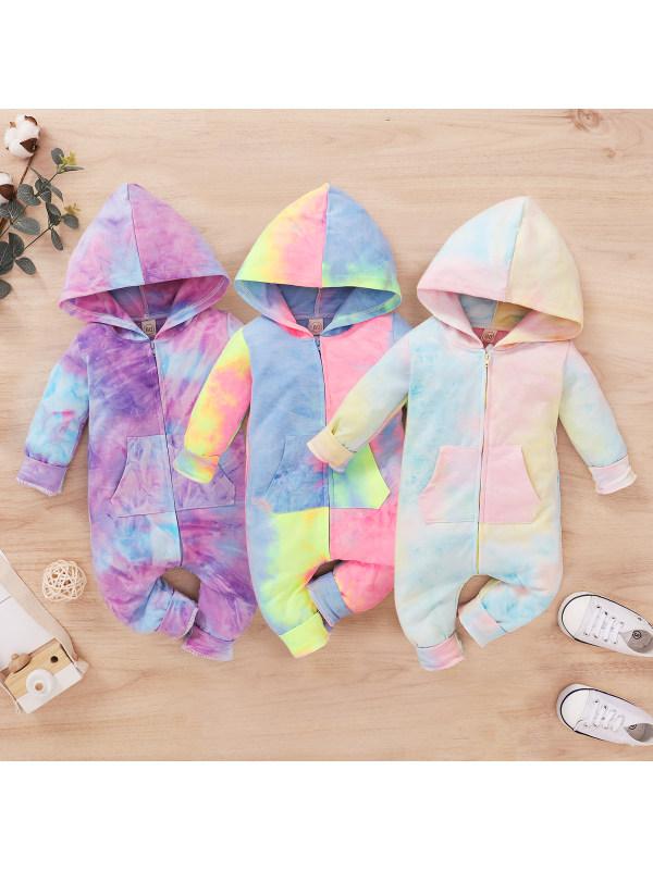 【0M-12M】Baby Tie-dye Hooded Zipper Long-sleeved Romper