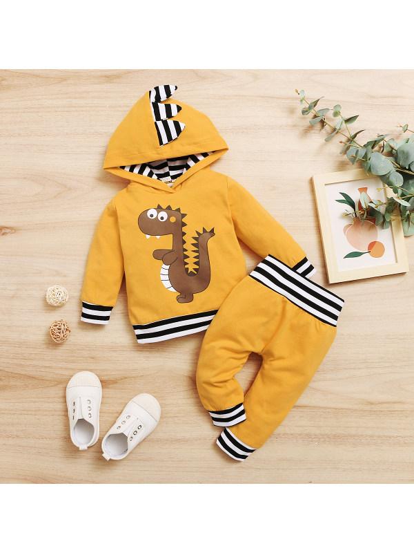 【0M-12M】Baby Boy Dinosaur Print Long-sleeved Hoodie Trousers Suit
