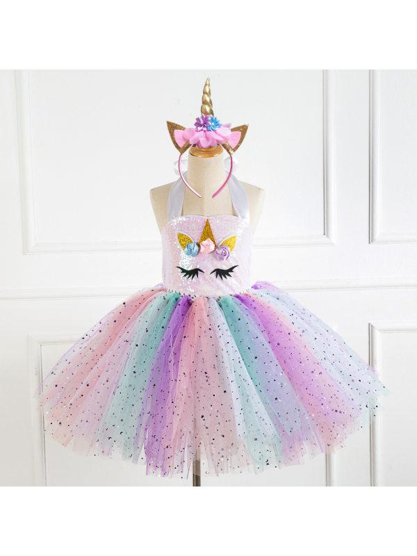 【2Y-11Y】Girl Unicorn Princess Tulle Dress With Headband