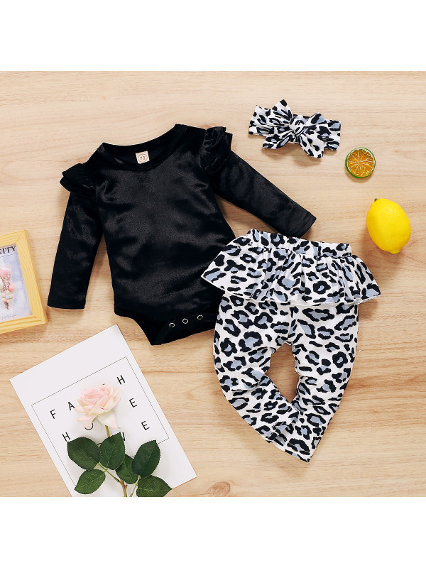 【0M-12M】Girls Solid Color Romper With Leopard Print Ruffled Trousers Set