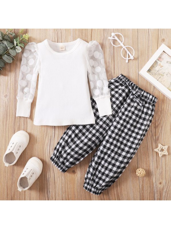 【9M-3.5Y】Girls Lace Puff Sleeve Top With Plaid Trousers Two-piece Set