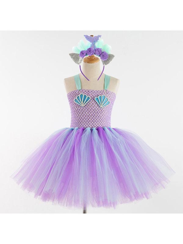 【2Y-11Y】Girl Mermaid Princess Tulle Dress With Headband