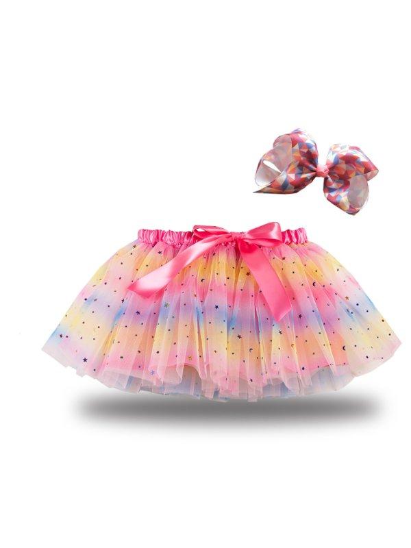 【2Y-7Y】 Girl Galaxy Tutu Skirt With Bowknot Decor With Hair Clip