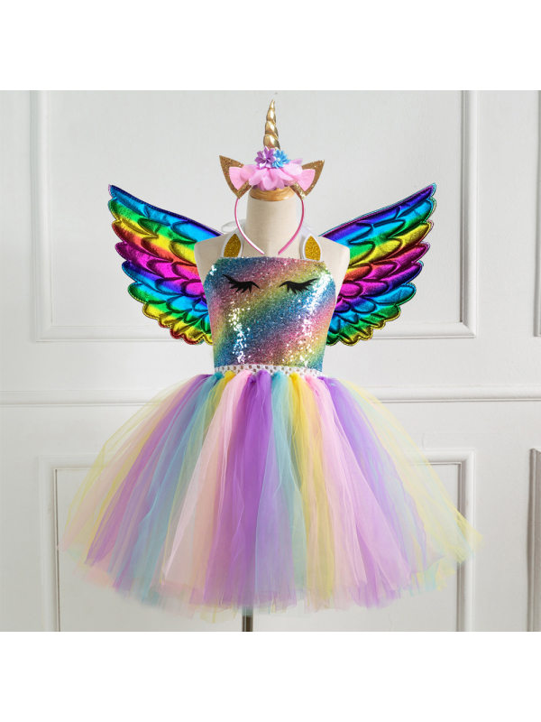 【2Y-11Y】Girl Unicorn Princess Tulle Dress With Wing
