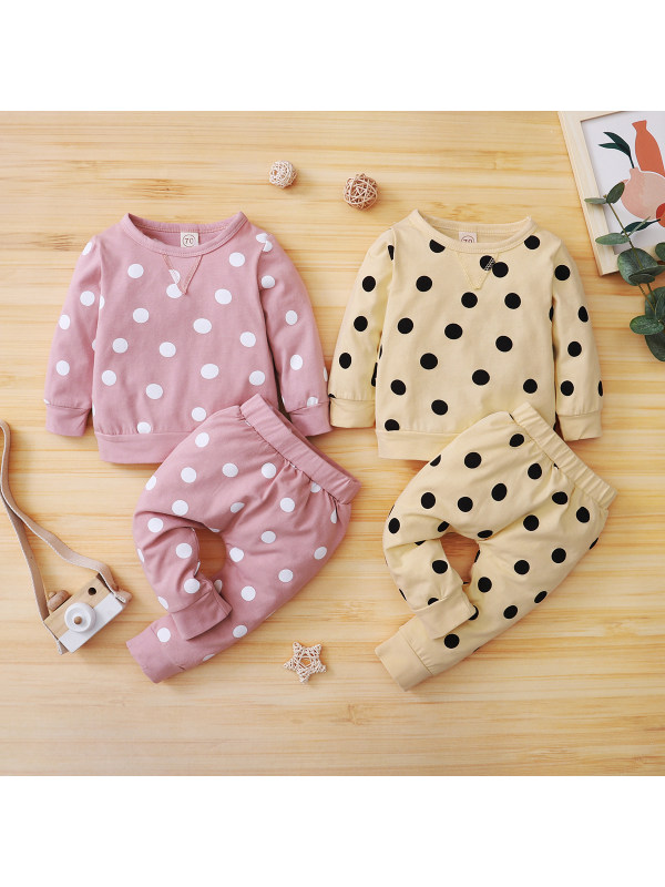 【0M-12M】Baby Polka Dot Casual Long-sleeved Pullover Trousers Suit