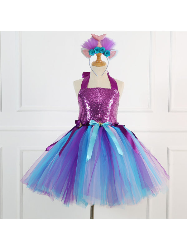 【2Y-11Y】Girl Princess Tulle Dress With Headband