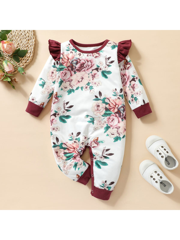 【3M-24M】Baby Cute Flower Print Round Neck Long Sleeve Romper