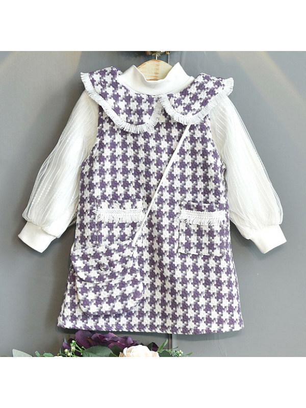 【18M-7Y】Girls Sweet Houndstooth Dress Set