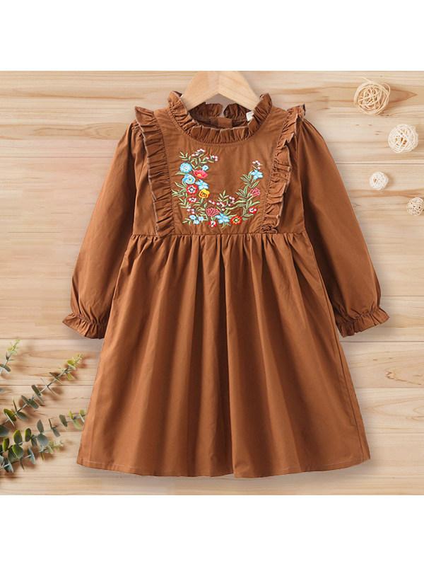 【18M-7Y】Girl Sweet Flower Embroidery Brown Long Sleeve Dress