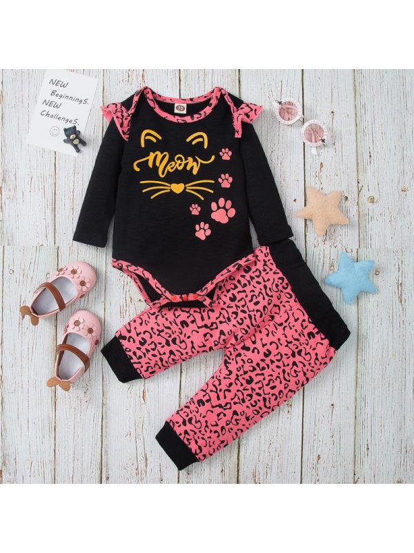 【3M-18M】Girls Cute Letters And Leopard Print Romper Set