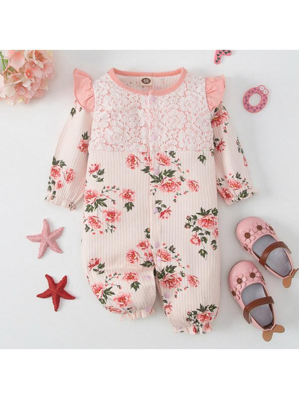 【3M-18M】Girls Cute Floral Print Pink Romper