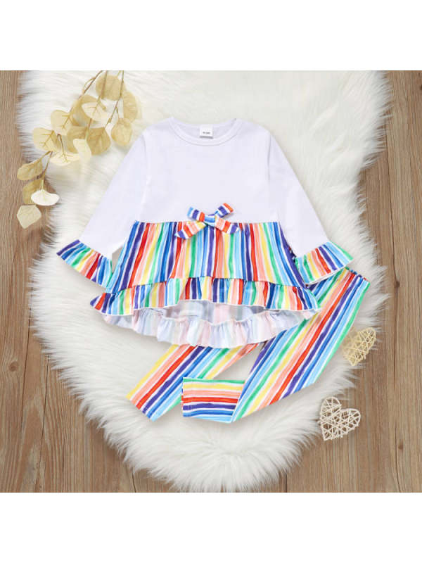 【18M-7Y】Girls Stitching Color Striped Flare Sleeve T-Shirt And Pants Set