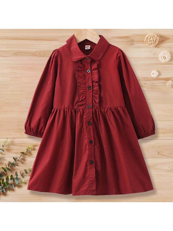 【18M-7Y】Girl Sweet Wine Red Long Sleeve Shirt Dress
