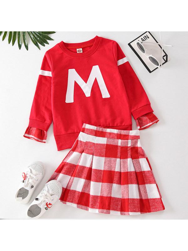 【18M-7Y】Girls Casual Letter Print Sweatshirt And Plaid Skirt Set