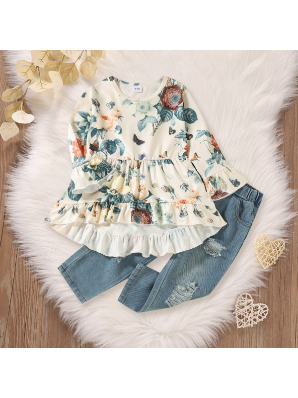 【18M-7Y】Girls Floral Print Flare Sleeve Top And Ripped Denim Pants Set
