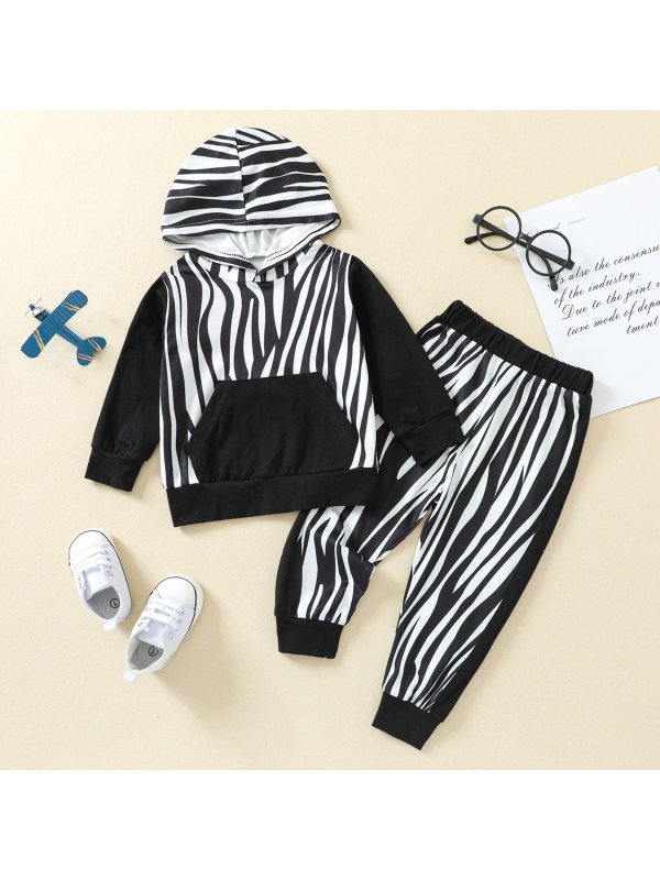 【3M-24M】Baby Black And White Striped Hooded Sweatshirt Set