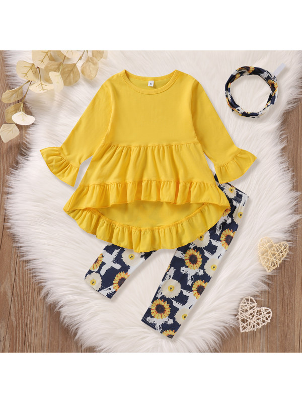 【12M-5Y】Girls Solid Color Flare Sleeve Blouse And Sunflower Pants Set With Headband