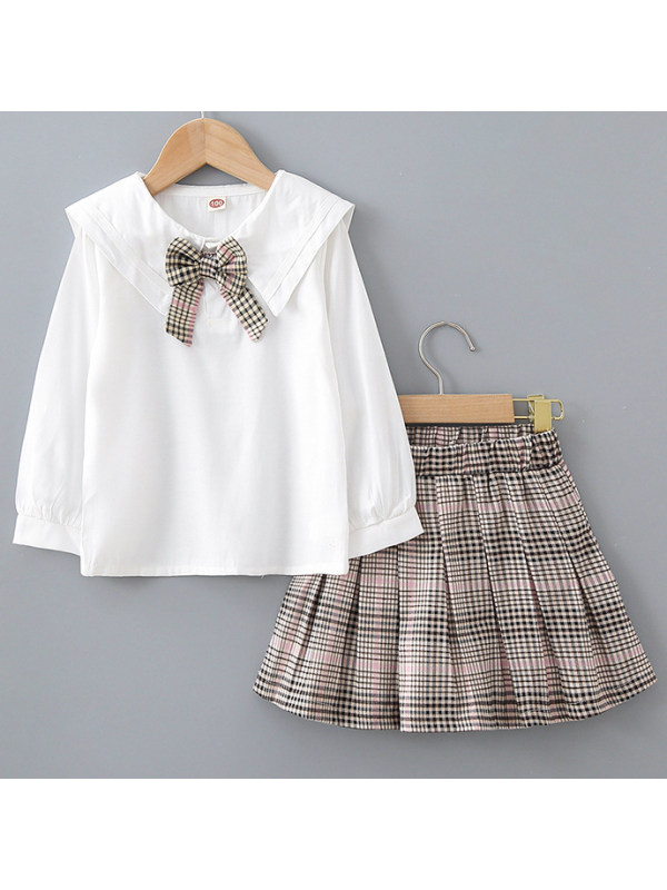 【18M-7Y】Girl Bow Tie White Shirt And Plaid Skirt Set
